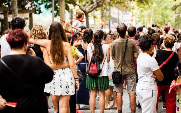 Crowd watching street entertainment