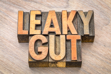 Leaky gut word abstract in wood type
