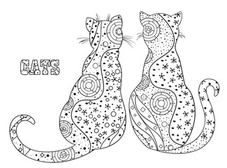 Cats. Zentangle. Hand drawn cat with abstract patterns on isolation background. Design for spiritual relaxation for adults. Black and white illustration for coloring. Outline for t-shirts