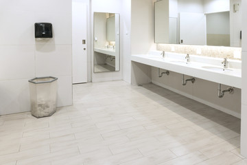 Interior of public clean toilet in shared toilet there is a wide selection of sinks with mirrors,clean toilet