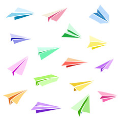 Vector paper airplane. Travel, route symbol. Set of colorful flat vector illustration of hand drawn paper plane. Isolated. Paper plane icon