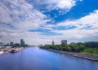 panorama of the Moskva river in Russia