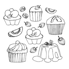 Cakes, cupcakes and pastry desserts. Vector muffin, creamy pie or tarts with strawberry and kiwi on cream topping, waffle biscuit and cookies for bakery shop, cafe or patisserie