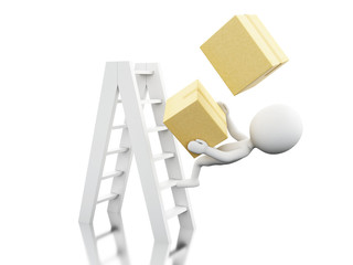 3d White people falling off a ladder with boxes