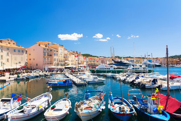 view on colorful harbour in Saint Tropez, cote d'azur, french riviera, south France