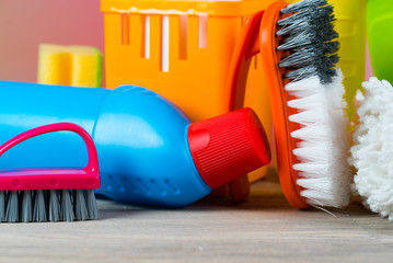 Colorful Cleaning concept with supplies