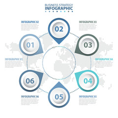 6 steps Business Infographics, strategy, timeline, design template blue grey color tone