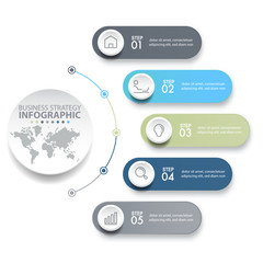 5 steps modern and clean Business Infographics design template