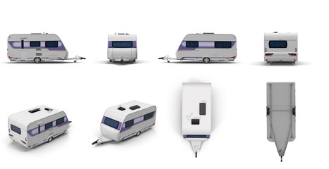 Travel Trailer Caravan renders set from different angles on a white. 3D illustration