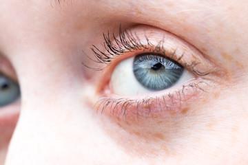 Weibliches Auge, blau, Nahaufnahme