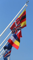 international flags waving on the wind