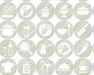 Kitchen, cooking, background, seamless, gray, vector. Circular icons with food, drinks and utensils the painted strokes on white background. Hatch grey pencil simulation. Vector seamless pattern.