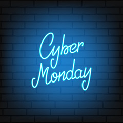 Cyber Monday. Neon script lettering Cyber Monday. Neon background for winter seasonal sale events.