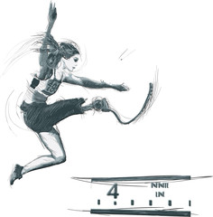 Athletics - LONG JUMP.From the series SILENT HEROES- Athletes with physical disabilities.Hand drawn vector.- - Note - Any accurate photo original for this picture, original is created by me- -