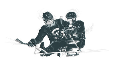 Sport, ICE HOCKEY. From the series SILENT HEROES - Athletes with physical disabilities. An hand drawn vector. - - - Note - Any accurate photo original for this picture, original is created by me - - -