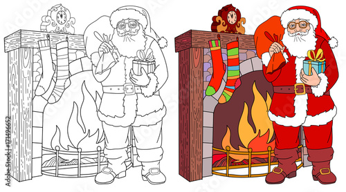 santa claus near the fireplace put gifts in socks happy christmas and new year coloring