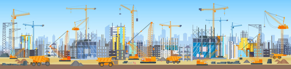 Wide head banner of city skyline construction process. Tower cranes on construction site. Buildings under construction. Wall mural
