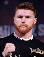 Middleweight boxer Canelo Alvarez of Mexico poses during a news conference in Las Vegas