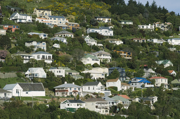 Houses, Lyttelton, Christchurch, New Zealand.