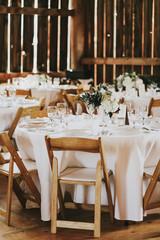 Wedding Reception Table in Barn Reception Venue