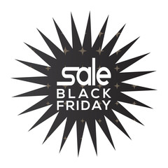 Isolated black friday label on a white background, Vector illustration