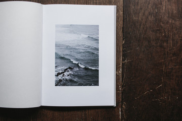 open book of photographs of nature