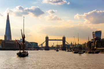 View of tower bridge at sunset, London
