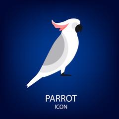 Parrot vector icon. Flat design.