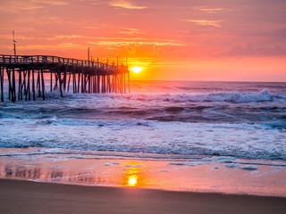 Sunrise over fishing pier at North Carolina Outer Banks Wall mural