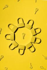 Keys and locks. yellow/yellow