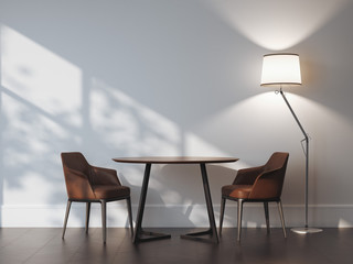 Two chairs and table in modern interior. 3d rendering