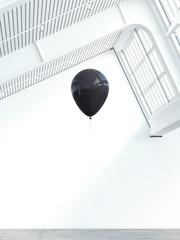 Black balloon in a modern lof interior. 3d rendering