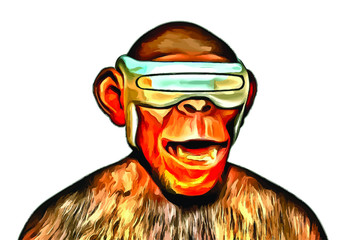 Ape using VR Glasses with Happy Face