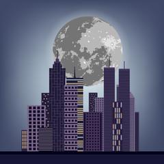 Night city skyline vector illustration design