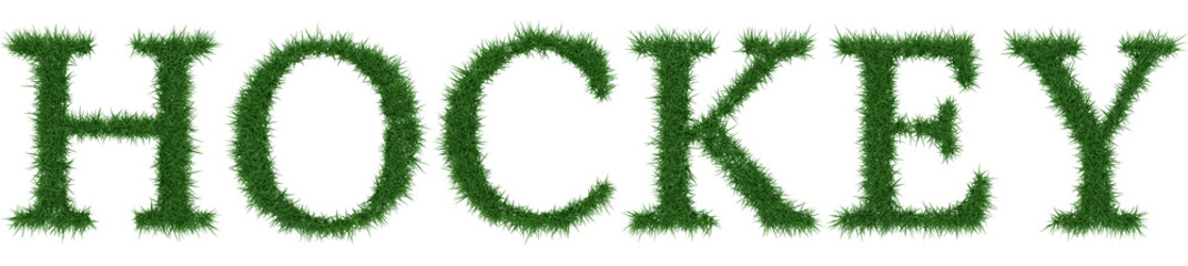 Hockey - 3D rendering fresh Grass letters isolated on whhite background.