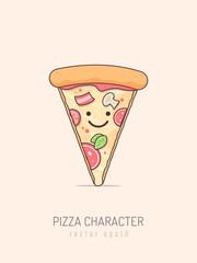 Pizza slice cartoon kawaii mascot character vector illustration