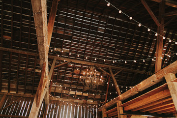 Wedding Reception String Lights in Barn Reception Venue