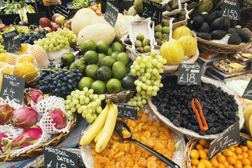 Various Fresh Fruits on Market Stall in London