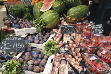 Fresh Fruits on Borough Market Stall in London UK