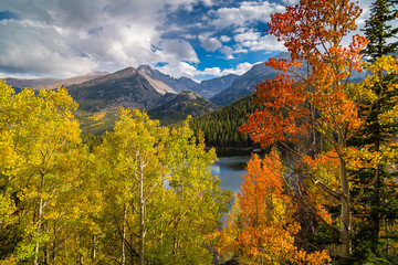 Colorful aspen above bear lake with view of longs peak