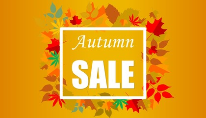 Illustration of Autumn Sale Fashionable Banner Template with Colorful Fall Leaves on bright trendy orange background. Shopping Discount promotion. Poster, card, flyer, label trendy design.