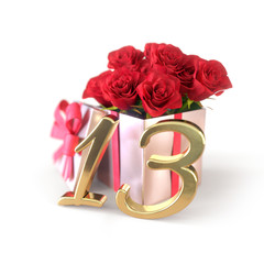 birthday concept with red roses in gift isolated on white background. thirteenth. 13th. 3D render