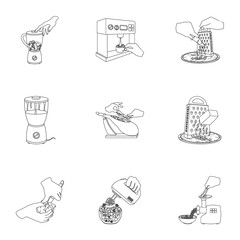 equipment, appliance, kitchen and other web icon in outline style. piece, Smoked meat, delicacy icons in set collection.