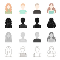 Appearance of a red-haired girl, a boy's face, a young man, a girl with long hair. Face and appearance set collection icons in cartoon black monochrome outline style vector symbol stock illustration