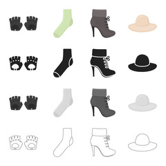 Accessories gloves, sock, women's boot, clothing hat. Clothes and accessories set collection icons in cartoon black monochrome outline style vector symbol stock illustration web.