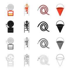 Fire siren, fireman on the stairs, hydrant, cone bucket. Fire Department set collection icons in cartoon black monochrome outline style vector symbol stock illustration web.