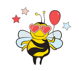 Bee party. A cute bee in heart shaped sunglasses holding a pink balloon, a cartoon illustration.