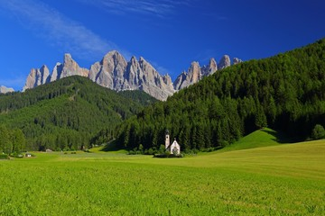 San Giovanni Church dolomites mountain in Santa Magdalena Italy.