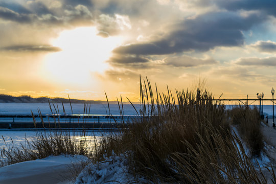 Winter Sunset from Michigan City, IN