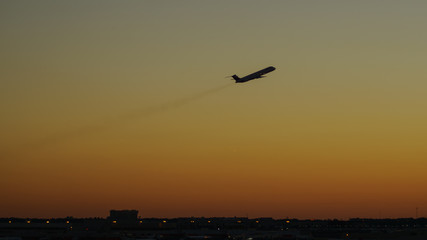 Single Aircraft Sunset Silhouette